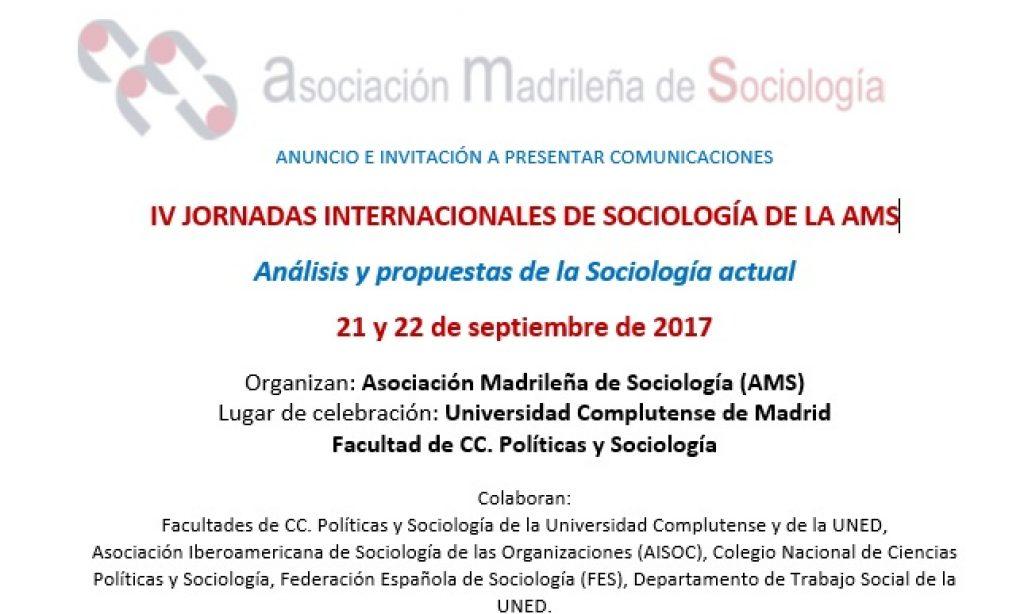 IV JORNADAS INTERNACIONALES DE SOCIOLOGÍA DE LA AMS , con descuento para los/as colegiados/as de Copyscyl