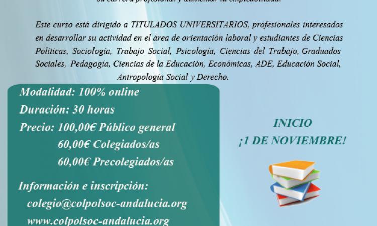 Segunda edición del Curso de Orientación Laboral on-line, impartido por el Colegio Oficial de Ciencias Políticas y Sociología de Andalucía, con descuento especial para los/as colegiados/as de Copyscyl