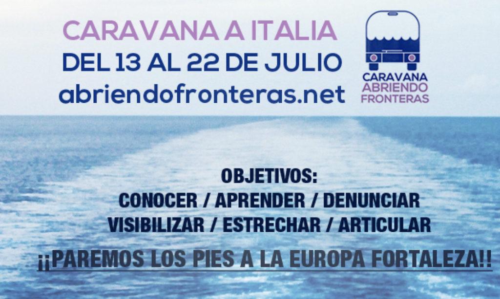 Apoyo al Manifiesto de la Caravana Abriendo Fronteras, Viaje a Italia del 13 al 22 de julio de 2018