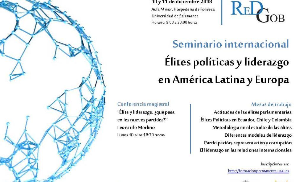 Seminario Internacional Elites y Liderazgo Político REDGOB, Instituto de Iberoamérica – Universidad de Salamanca