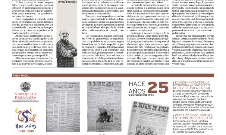 """Artículo: """"Del Parlamento al plató: el teatro de la política"""", por nuestro colegiado y representante en Ávila David Herrero, publicado en el periódico el Diario de Ávila el día 12 de febrero de 2019"""
