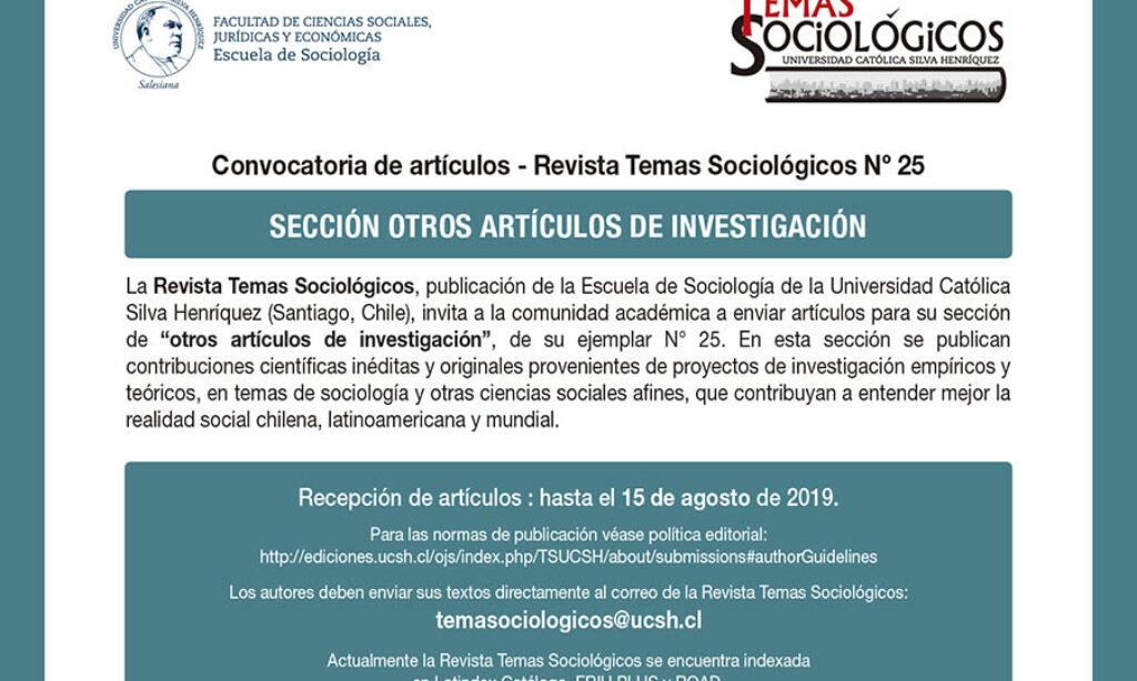 Convocatorias abiertas de la Revista Temas Sociológicos para el próximo número 25.