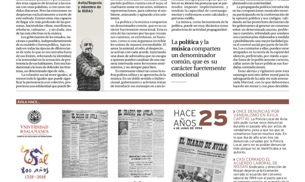"""Artículo: """"Política y música"""", por David Herrero Muñoz, colegiado y representante en la provincia de Ávila y Segovia, publicado en el Diario de Ávila el día 4 de junio de 2019"""