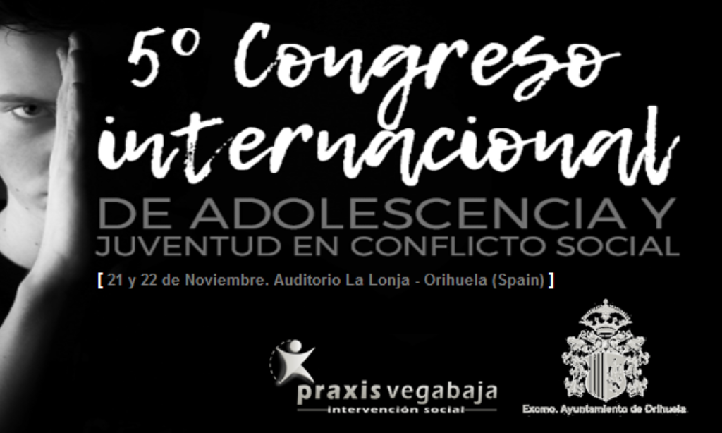 V Congreso Internacional de Adolescencia y Juventud en Conflicto Social que se realizará los próximos 21 y 22 de Noviembre 2019 , Alicante, con descuento de 25% para los/as colegiados/as de Copyscyl