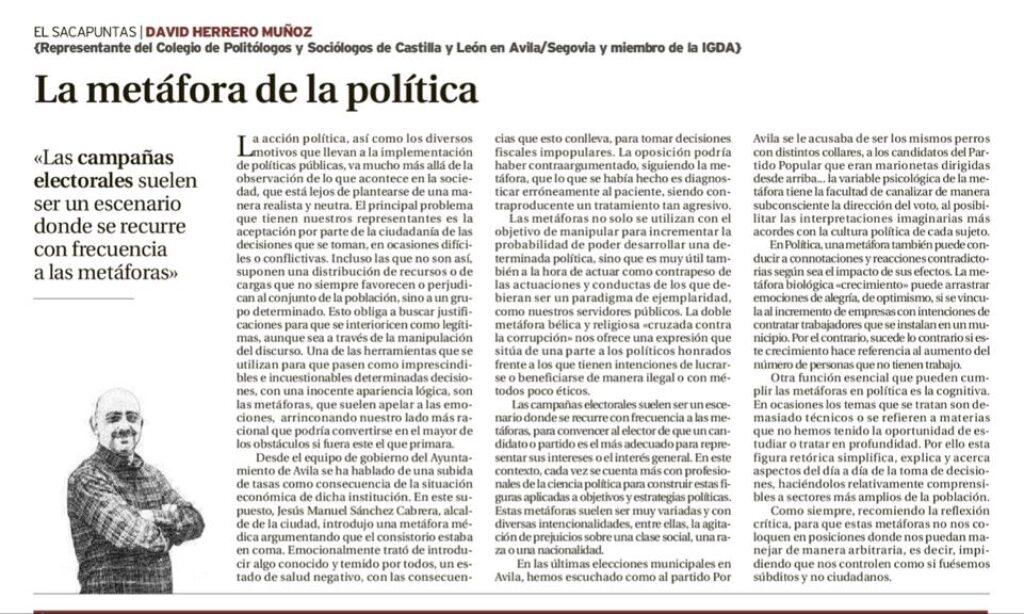 """Artículo: """"La metáfora de la política"""", por David Herrero Muñoz, colegiado y representante de las provincias Ávila y Segovia, publicado en el Diario de Ávila el día 1 de octubre de 2019"""
