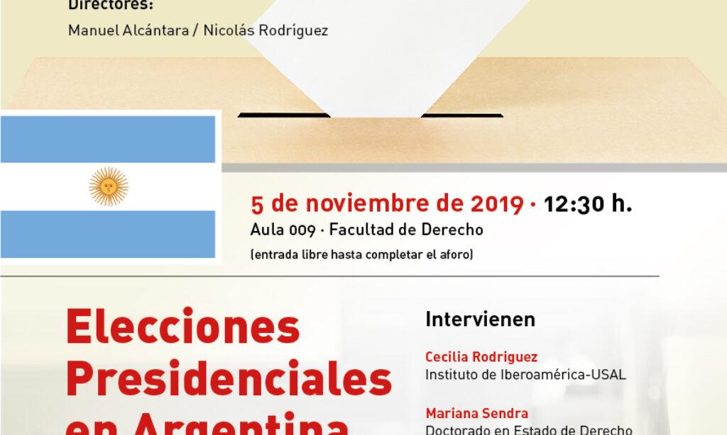 Seminario: Urnas y democracia: «Elecciones Presidenciales en Argentina». Universidad de Salamanca (Fecha: 5 de noviembre de 2019).