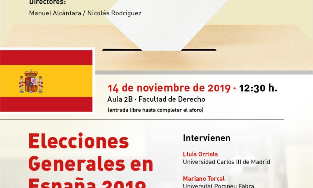 """Seminario: Urnas y democracia: """"Elecciones Generales en España 2019"""". Universidad de Salamanca (Fecha: 14 de noviembre de 2019)."""