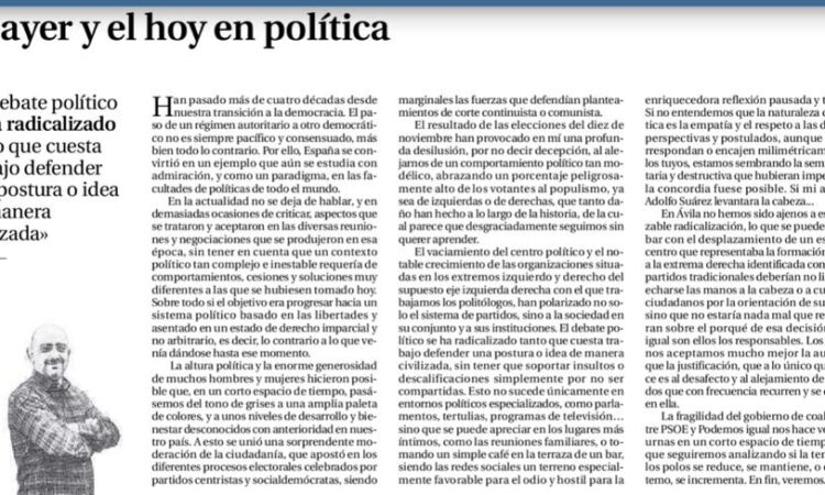 """Artículo: """"El ayer y el hoy en política"""", por David Herrero Muñoz, colegiado y representante en la provincia de Ávila y Segovia, publicado en el Diario de Ávila el día 26 de noviembre de 2019"""