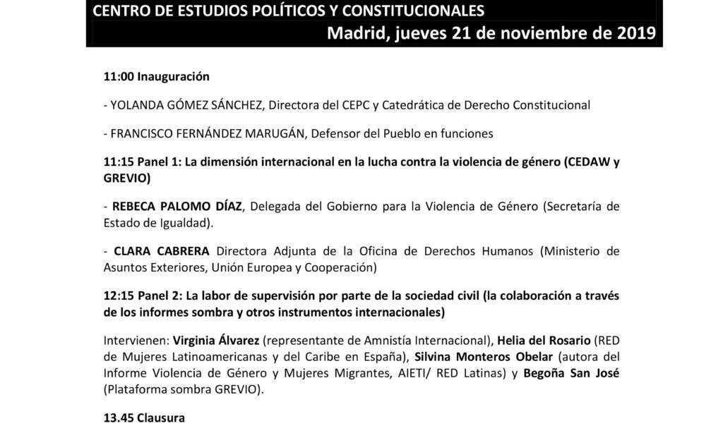 Seminario «La igualdad y la lucha contra la violencia de género en la agenda internacional. La labor de las ONG» (Madrid) (Fecha: 21 de noviembre de 2019).