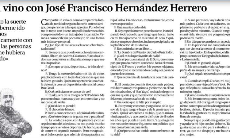 Artículo: «Un vino con José Francisco Hernández Herrero», por David Herrero Muñoz, colegiado y representante en las provincias de Ávila y Segovia, publicado en el Diario de Ávila el día 24 de diciembre de 2019