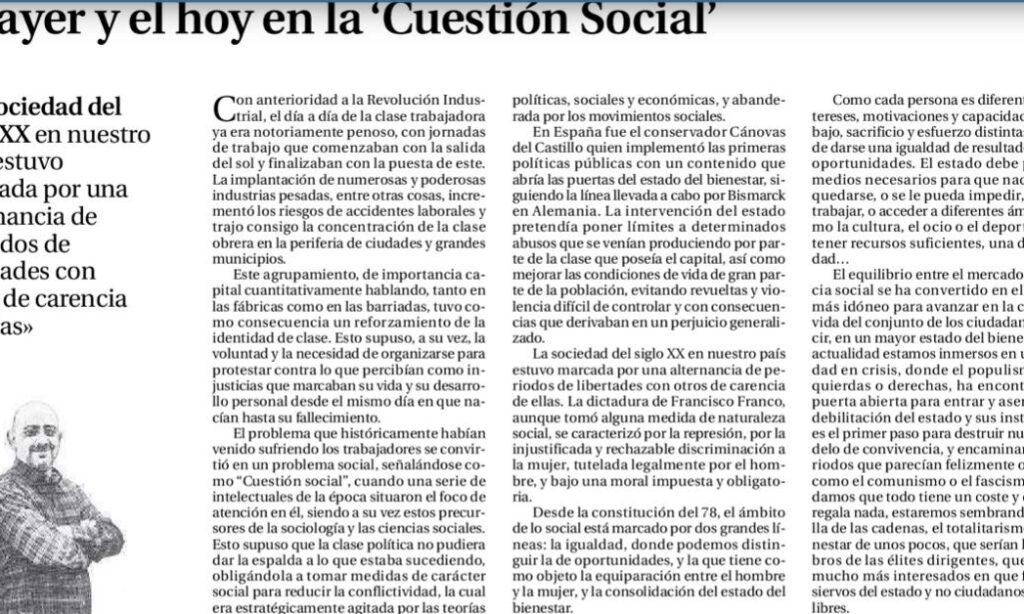 Artículo: «El ayer y el hoy en la ´Cuestión Social`», por David Herrero Muñoz, colegiado y representante en la provincia de Ávila y Segovia, publicado en el Diario de Ávila el día 21 de enero de 2020