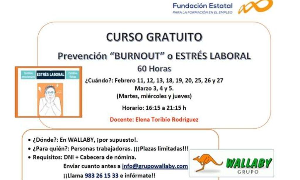 Curso gratuito «Prevención ´burnout`o estrés laboral» -Valladolid (Fecha de inicio: 11 de febrero de 2020)