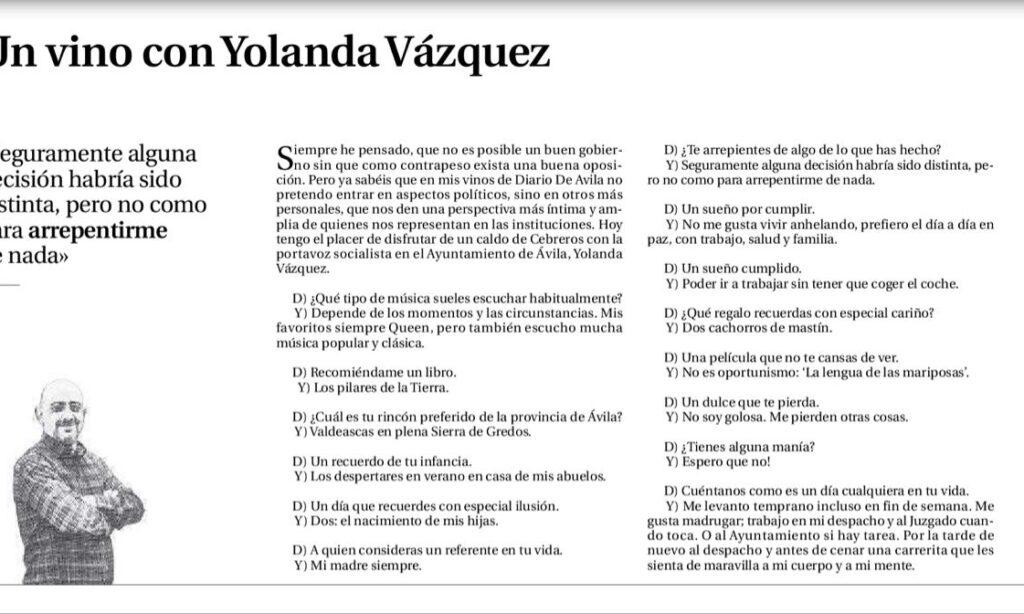 Artículo: «Un vino con Yolanda Vázquez», por David Herrero Muñoz, colegiado y representante en la provincia de Ávila y Segovia, publicado en el Diario de Ávila el día 18 de febrero de 2020
