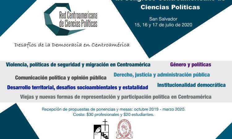 IX Congreso Centroamericano de Ciencia Política de la Red Centroamericana de Ciencia Política -San Salvador (Fecha: 15, 16 y 17 de julio de 2020)