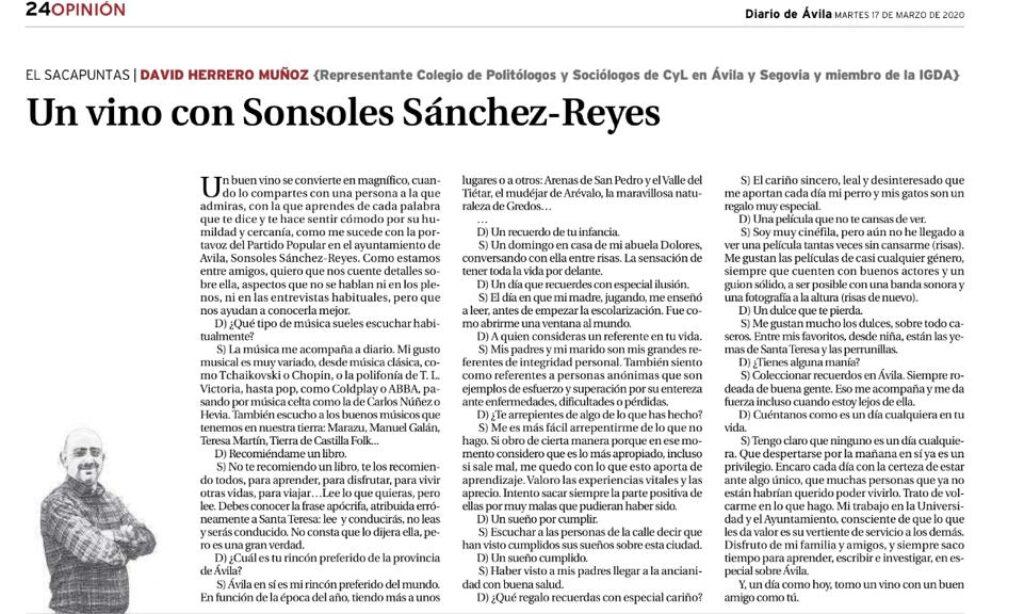 """Artículo: """"Un vino con Sonsoles Sánchez-Reyes"""", por David Herrero Muñoz, colegiado y representante en la provincia de Ávila y Segovia, publicado en el Diario de Ávila el día 17 de marzo de 2020"""