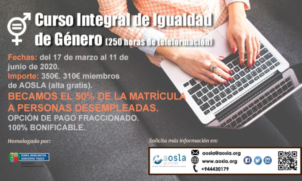 Nuevo curso de AOSLA- Gizalan con descuento del 9% para colegiados/as: Curso Integral de Igualdad de Género. (Edición 8). (Plazo: 24 de marzo de 2020)