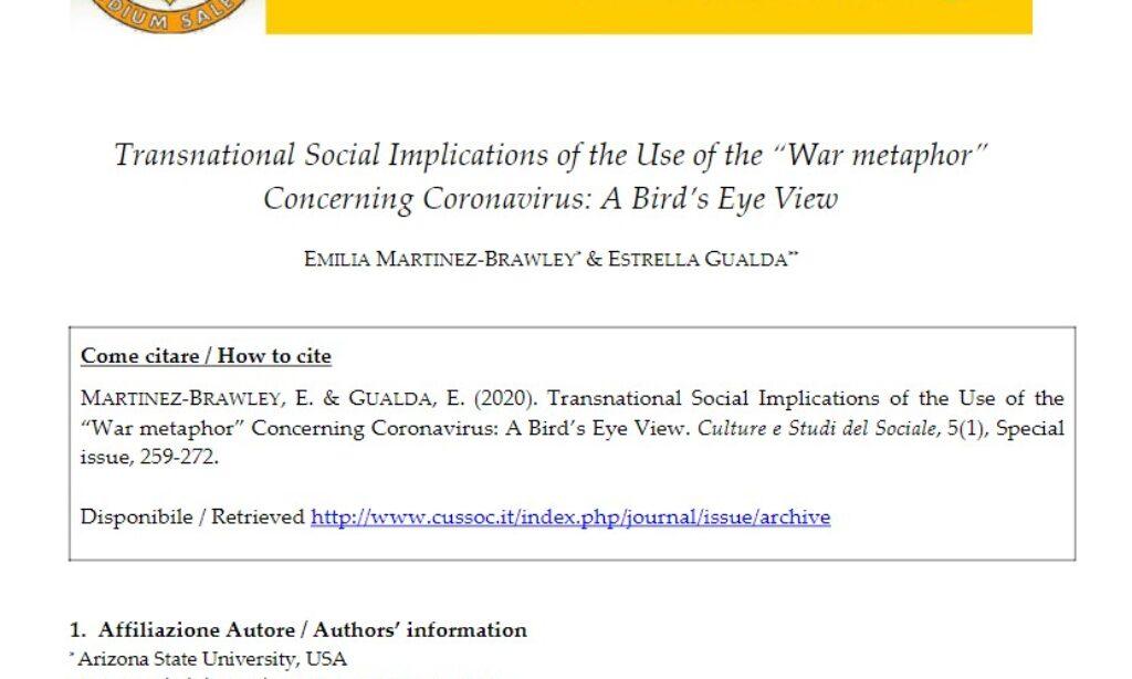 """Artículo: «Transnational Social Implications of the Use of the """"War metaphor» Concerning Coronavirus: A Birds' Eye View», publicado desde el grupo de investigación ESEIS sobre el COVID-19"""