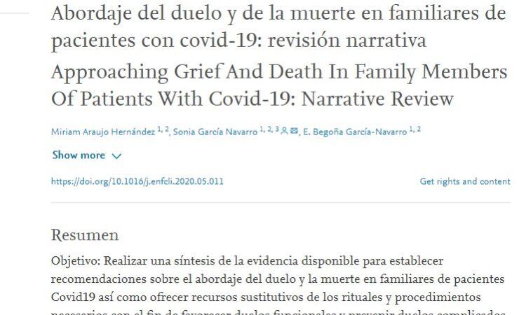 Artículo: «Abordaje del duelo y de la muerte en familiares de pacientes con covid-19: revisión narrativa», publicado desde el grupo de investigación ESEIS sobre el COVID-19
