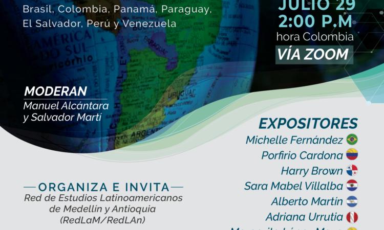 III Webinar – Democracia y Salud en América Latina (Brasil, Colombia, Panamá, Paraguay, El Salvador, Perú y Venezuela), moderado por Manuel Alcántara y Salvador Martí. (Fecha: 29 de julio de 2020)