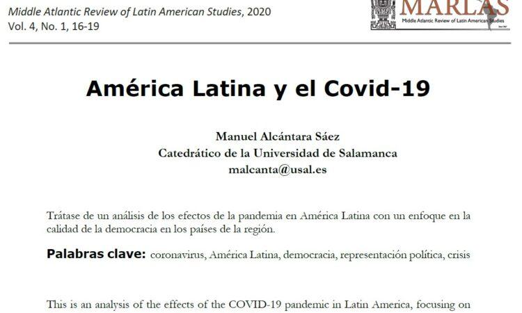 """Artículo: """"América Latina y el Covid-19"""", por nuestro colegiado Manuel Alcántara, publicado en The Middle Atlantic Review of Latin American Studies el día 30 de junio de 2020"""