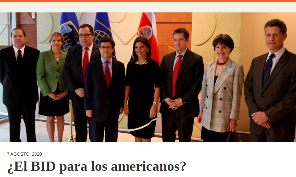 Artículo: «¿El BID para los americanos?» por nuestro colegiado Manuel Alcántara, publicado en Latinoamérica 21 el día 7 de agosto de 2020.