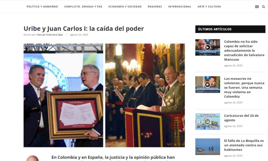 """Artículo: """"Uribe y Juan Carlos I: la caída del poder"""", por nuestro colegiado Manuel Alcántara, publicado en la Razón Pública el día 24 de agosto de 2020"""