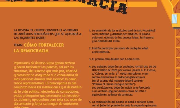 45º Premio de artículos El Ciervo – Enrique Ferrán (Plazo: 30 de noviembre de 2020)