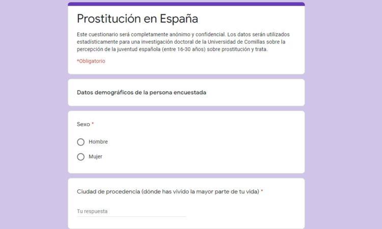 Colaboración con investigación doctoral sobre la percepción de la juventud española (entre 16-30 años) de la prostitución y trata