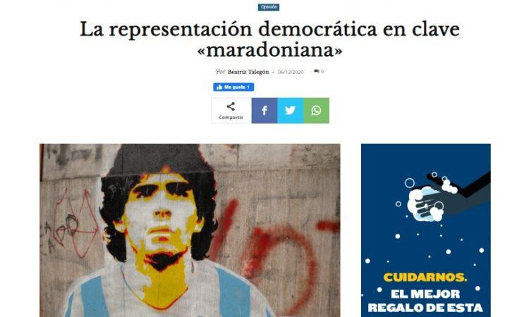 Artículo: «La representación democrática en clave 'maradoniana'», por Francisco Tomás González Cabañas, publicado en Diario 16 el día 6 de diciembre de 2020