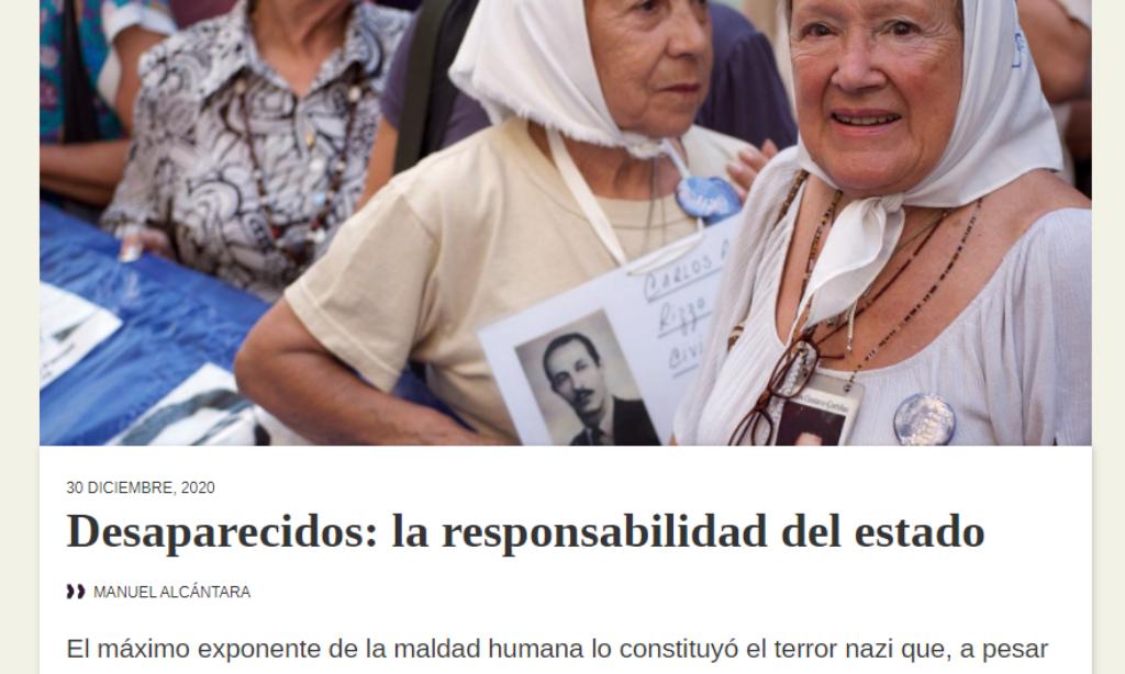 Artículo: «Desaparecidos: la responsabilidad del estado» por nuestro colegiado Manuel Alcántara, publicado en Latinoamérica 21 el día 30 de diciembre de 2020