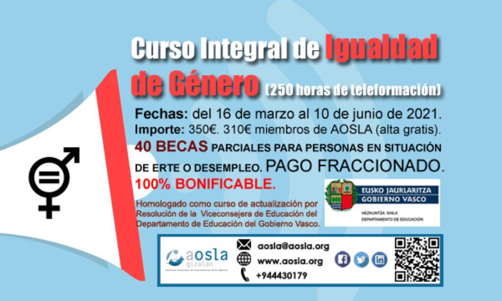 Curso de AOSLA – Gizalan con descuento del 9% para colegiados/as: «Curso Integral de Igualdad de Género», 250 horas (Plazo inscripción: ampliado hasta el martes, 23 de marzo de 2021)
