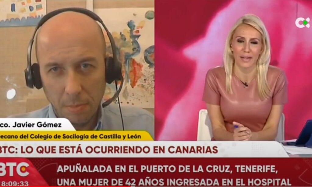El Decano del Colegio Oficial de Politólogos y Sociólogos de Castilla y León, Francisco Javier Gómez, participa en el programa de televisión Buenas tardes Canarias, de Televisión Canaria