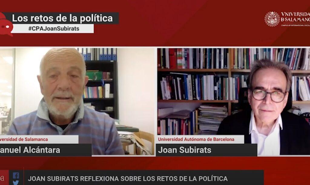 «Los retos de la política», con Manuel Alcántara. Programa 1×08 (Fecha: 23 de febrero de 2021)