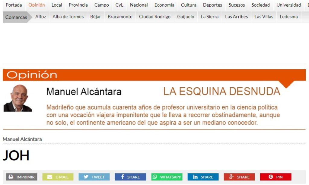 """Artículo: """"JOH"""", por Manuel Alcántara, publicado en la Esquina Desnuda el día 24  de marzo de 2021"""