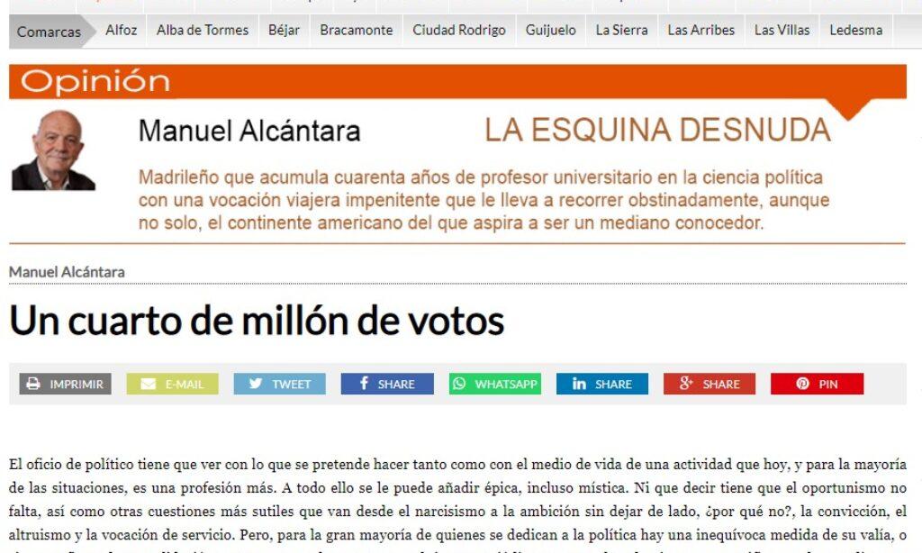 """Artículo: """"Un cuarto de millón de votos"""", por nuestro colegiado Manuel Alcántara, publicado en la Esquina Desnuda el día 12 de mayo de 2021"""
