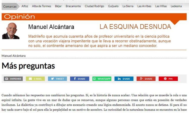 """Artículo: """"Más preguntas"""", por nuestro colegiado Manuel Alcántara, publicado en la Esquina Desnuda el día 26 de mayo de 2021"""