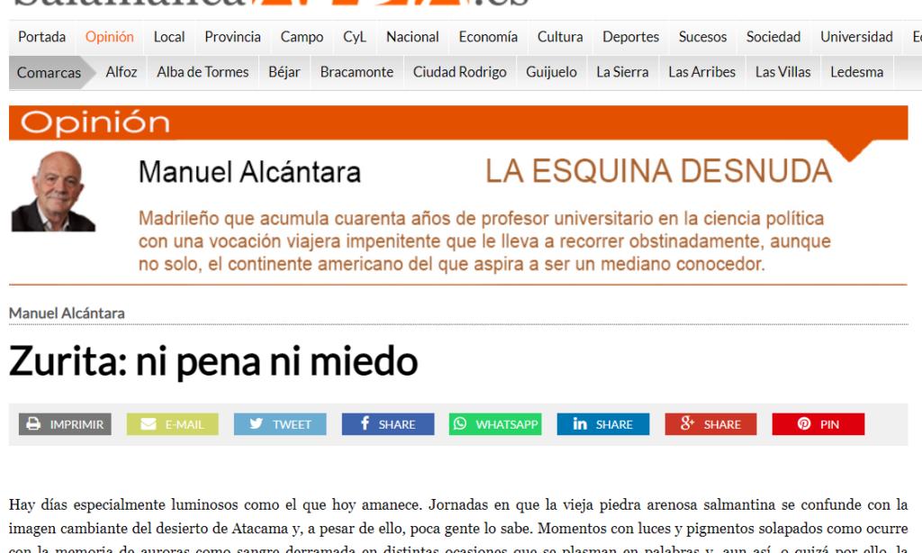 """Artículo: """"Zurita: ni pena ni miedo"""", por nuestro colegiado Manuel Alcántara, publicado en la Esquina Desnuda el día 2 de junio de 2021"""