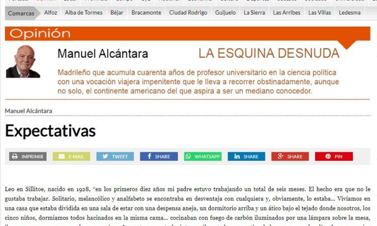 """Artículo: """"Expectativas"""", por nuestro colegiado Manuel Alcántara, publicado en la Esquina Desnuda el día 9 de junio de 2021"""