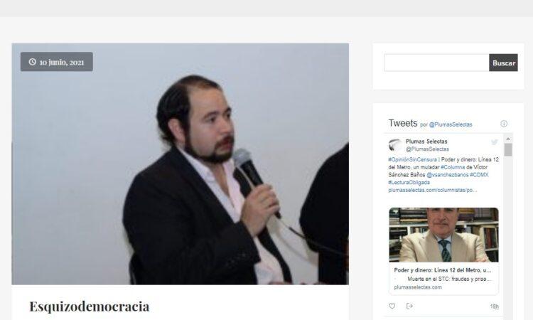 Artículo: «Esquizodemocracia», por Francisco Tomás González Cabañas, publicado en Plumas Selectas el día 10 de junio de 2021