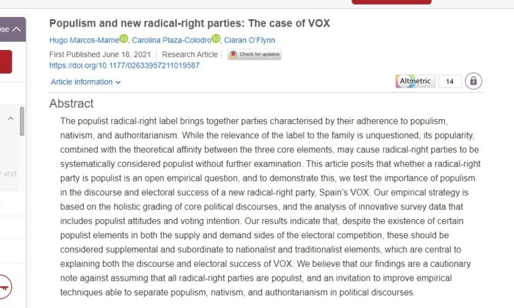 """Artículo: """"Populism and new radical-right parties: The case of VOX"""", por nuestra colegiada Carolina Plaza Colodro y Hugo Marcos-Marné , publicado en Politics el día 18 de junio de 2021"""