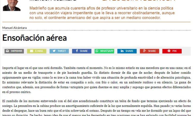 """Artículo: """"Ensoñación aérea"""", por nuestro colegiado Manuel Alcántara, publicado en la Esquina Desnuda el día 23 de junio de 2021"""