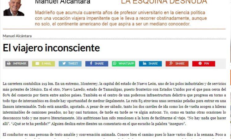 """Artículo: """"El viajero inconsciente"""", por nuestro colegiado Manuel Alcántara, publicado en la Esquina Desnuda el día 30 de junio de 2021"""