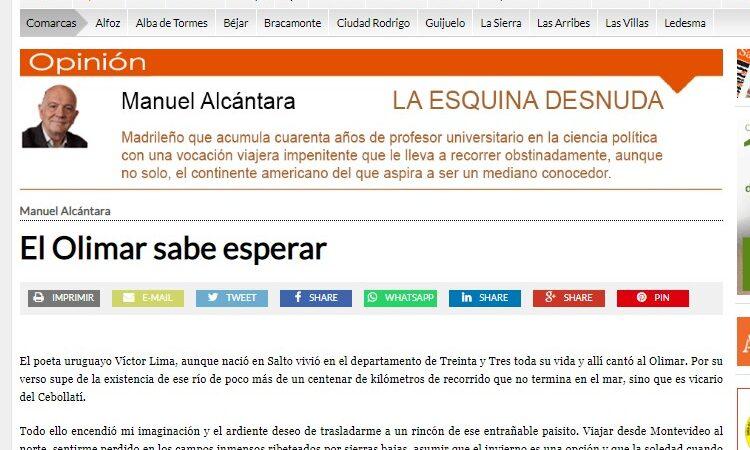 """Artículo: """"El Olimar sabe esperar"""", por nuestro colegiado Manuel Alcántara, publicado en la Esquina Desnuda el día 7 de julio de 2021"""