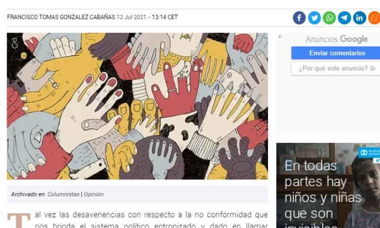 Artículo: «La democracia noética y la representación noemática», por Francisco Tomás González Cabañas, publicado en Periodista Digital el día 12 de julio de 2021