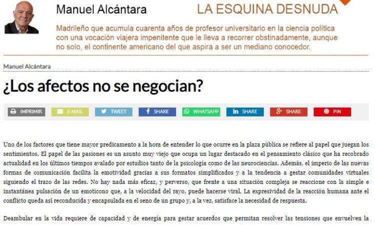 """Artículo: """"¿Los afectos no se negocian?"""", por nuestro colegiado Manuel Alcántara, publicado en la Esquina Desnuda el día 14 de julio de 2021"""