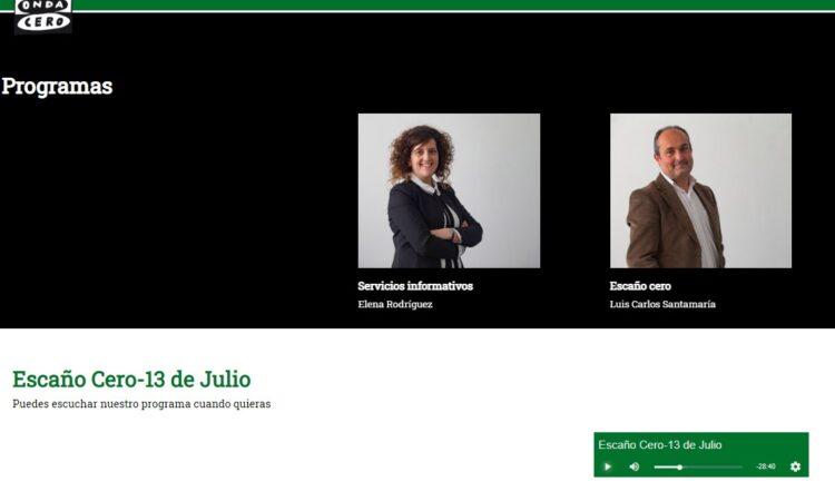 Colaboración de David Herrero en el espacio de debate y análisis de la actualidad de Ávila «Escaño Cero», de Onda Cero Ávila, el día 13 de julio de 2021