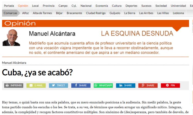 """Artículo: """"Cuba, ¿ya se acabó?"""", por nuestro colegiado Manuel Alcántara, publicado en la Esquina Desnuda el día 21 de julio de 2021"""