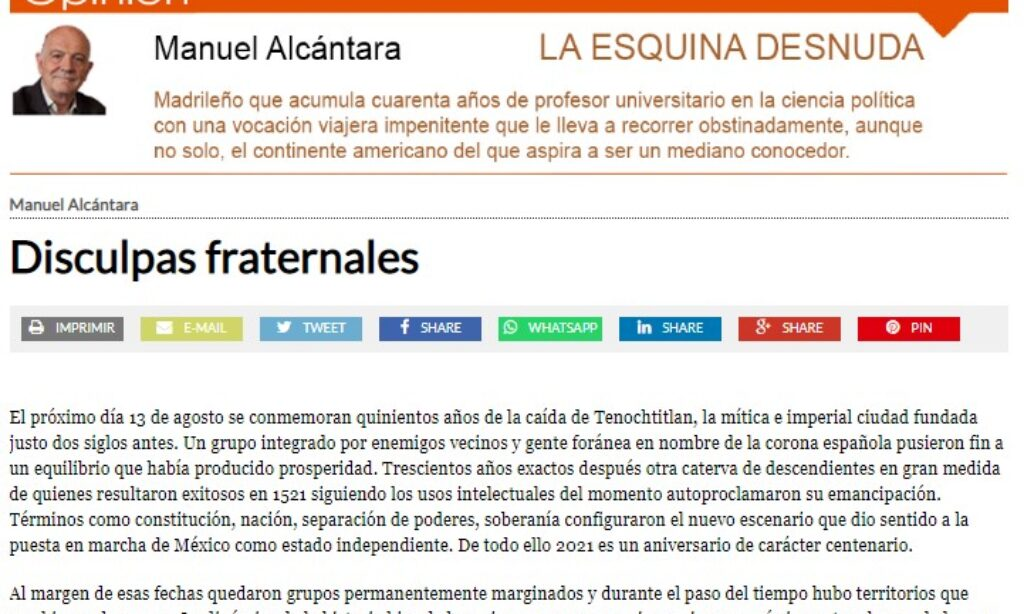 """Artículo: """"Disculpas fraternales"""", por nuestro colegiado Manuel Alcántara, publicado en la Esquina Desnuda el día 28 de julio de 2021"""