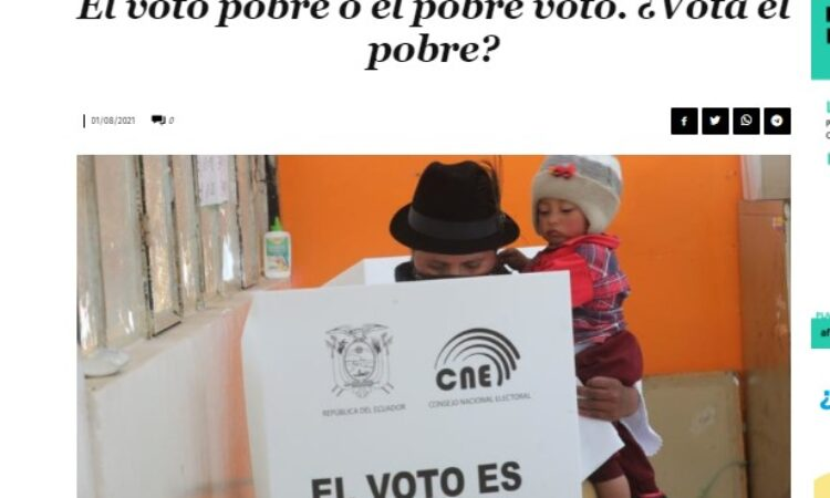 Artículo: «El voto pobre o el pobre voto. ¿Vota el pobre?», por Francisco Tomás González Cabañas, publicado en Diario 16 el día 1 de agosto de 2021