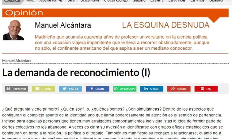 """Artículo: """"La demanda de reconocimiento (I)"""", por nuestro colegiado Manuel Alcántara, publicado en la Esquina Desnuda el día 4 de agosto de 2021"""